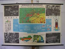 Schulwandkarte Duisburg Rhein Schalke Eisen + Stahl 140x96~1959 vintage wall map