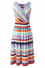 Lands End Women's Fit and Flare Dress Eggshell White Multi Stripe New