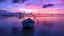 STUNNING PURPLE SUNSET SEASCAPE CANVAS PICTURE POSTER PRINT UNFRAMED 164