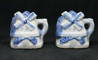Vintage Blue and White Windmill Salt and Pepper Shakers. Japan