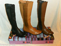 LADIES BEBO LEATHER LOOK KNEE HIGH BOOTS BROWN TAN BLACK BNIB NEW SIZE UK 3-7