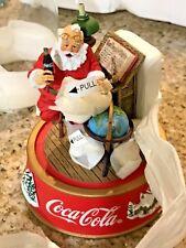Franklin Mint Coca-Cola Figurine Santa Making A List1995 Glass Dome L@@K
