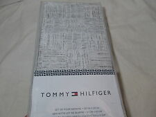 New Tommy Hilfiger Cotton Dinner Napkins 20x20 ~ Set of Four - Gray Grey,  White