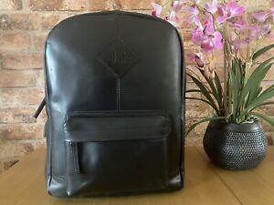 New Genuine Leather Laptop Backpack Rucksack Messenger School Bag Satchel Black