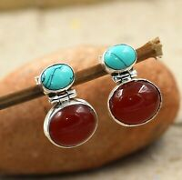 Carnelian Turquoise Gemstone Woman's Earring Solid 925 Sterling Silver Jewelry