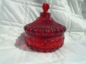 Mosser Ruby Red Eyewinker Candy Dish With Lid