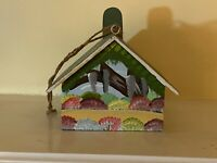 "Wooden Birdhouse with Clock: Hand Painted: 9""x 7""x 5"""