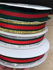 "3 Colors Silver,Gold ,Green Red Stripper Ribbon Trim 1"" Gucci!"