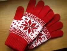 Ladies Mens Festive Touch Screen Smart Knitted Gloves Winter Warm Adult