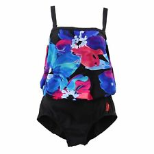 2 Bamboo Womens' One-Piece Swimsuit, Medium (8-10), Floral / Black