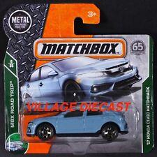 2018 Matchbox #7 '17 Honda Civic Hatchback SONIC GREY PEARL / SHORT CARD