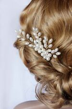 Bridal Pearls Hair Vine Floral spray Wedding Prom Comb Headpiece Fascinator Gold