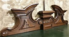 Victorian scroll leaf wood carving pediment Antique french architectural salvage