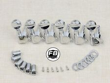 String Tuning Pegs Gear Electric Guitar Tuners 6 In Line Machine Heads Chrome