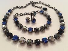 Swarovski Crystal Elements Blues Black Colors Antique Cup Chain 8mm Jewelry Set