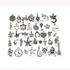 40Pcs Tibetan Silver Mix Pendants Charms Bracelets Necklace Clothing Accessories