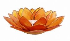 Photophore Lotus en nacre Capiz - Orange - Porte bougie chakra 2
