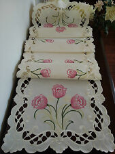 """16""""x72""""Embroidered Table Runner Spring Tulip Floral Tablecloth Home Decor"""