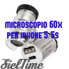 MICROSCOPIO OTTICO 60 INGRANDIMENTI PER IPHONE 5 5S COVER CASE LED UV FILIGRANA