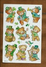 American Greetings Corp AGC Single Sheet Stickers St Patrick's Day Teddy Bears