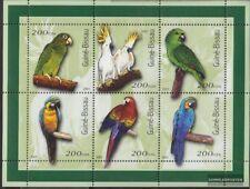 Guinée-bissau 1422-1427 Feuille miniature neuf avec gomme originale 2001 Oiseaux