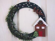 christmas wooden hanging house and reindeer  wreath wall door hanging