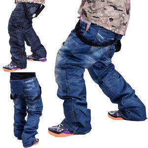 Winter Outdoor Waterproof Men's Denim Ski Pants Trousers Windproof Salopettes