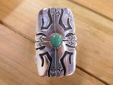 Large Sterling Silver and Turquoise Ring By T&R Singer Size 7