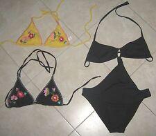 lotto costume intero+reggineno per bikini BENETTON taglia S-small nero/giallo