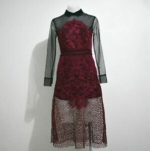 Self Portrait Burgundy Floral Embroidered Lace Sheer Sleeve Dress Size 8 BNWT