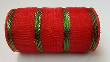 "6"" Red and Green Striped Deco Mesh Ribbon"