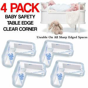 4x Clear Rubber Furniture Corner Edge Table Cushion Guard Protector Baby_WA