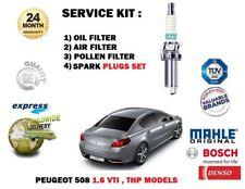 PARA PEUGEOT 508 1.6 VTi THP 2010- > Aire Aceite Pollen 3 Kit de filtro + Bujías