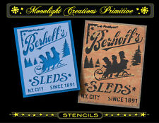 Primitive Stencil~BERHOFF'S SLEDS~Classic Old Fashion Vintage Winter Sled Ad