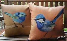 2 x Cotton Linen Cushion Covers Pillow Case Australian Bird Splendid Fairy Wren