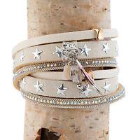 Clayre & Eef * Armband * Leder * Nieten   * Sternen* Gold Beige Silber