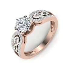 1ct VS - F Moissanite With Natural Diamond Engagement Ring Real Two Tone Gold
