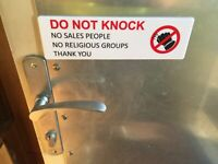 'DO NOT KNOCK'  PEEL AND STICK SIGN, BUSINESS OR HOME  SIGN W SELF ADHESIVE