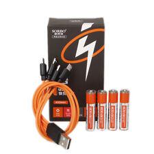 4Pcs SORBO 1.5V 400mAh AAA  USB Charging Li-po Battery