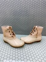 Sperry Top-Sider SALTWATER Ivory Canvas/Rubber Lace Up/Zip Rain Boots Women's 6