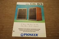 Pioneer CS-53 Speaker System Original Catalogue