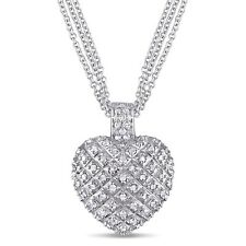 Amour Sterling Silver 1ct TDW Diamond Heart Triple-strand Necklace