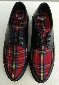 New Dr. Martens Willis Tartan Derby Shoes Women's US9 Fits like 9.5