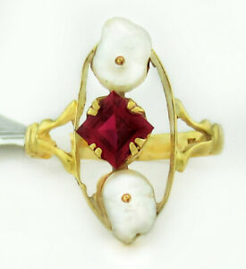 GENUINE WHITE PEARLS & RUBY RING 10k YELLOW GOLD *** New with Tag ***