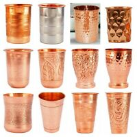 100% Pure Copper Handmade Hammered Embroidered Tumbler Water Glass
