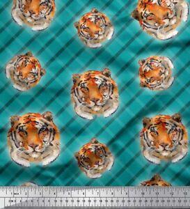 Soimoi Fabric Check & Tiger Face Animal Print Fabric by Yard - AN-668E