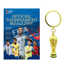 2018 FIFA WORLD CUP RUSSIA OFFICIAL PROGRAM TOURNAMENT MAGAZINE+ TROPHY KEYCHAIN