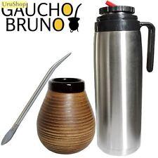 K44T FLASK, CERAMIC CUP & BOMBILLA (STRAW) SET TO DRINK YERBA MATE PICO CEBADOR