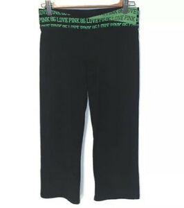 PINK Victorias Secret Black Green Love Pink Leggings Size Small