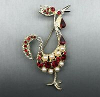 Vintage Exotic Bird w/ Red Rhinestones & Faux Pearls Gold-tone Statement Brooch